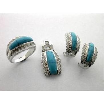 кольцо c бирюзой из серебра t337r