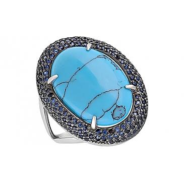 Кольцо с бирюзой и фианитом из серебра 128056