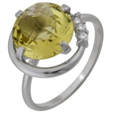 кольцо c цитрином из серебра 3907000339