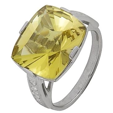 кольцо c цитрином из серебра 3907001794