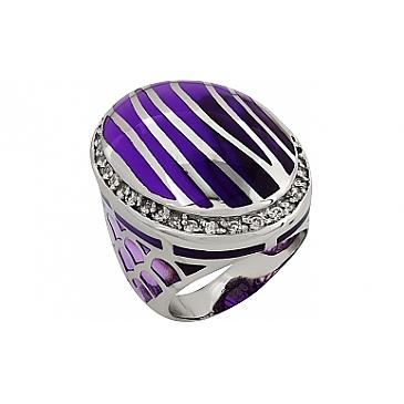 Кольцо без камня с кауч. вставками из серебра 99370