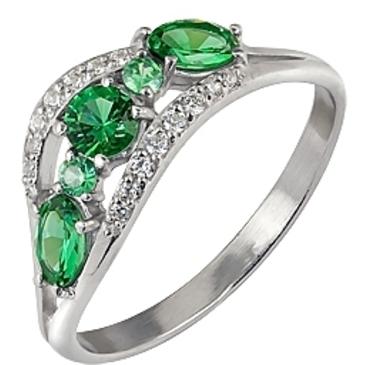 кольцо c изумрудом из серебра 3987002457