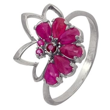 кольцо c корундами из серебра 3987002453-4