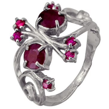 кольцо c корундами из серебра 3987002451-5
