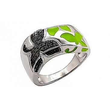 Кольцо с эмалью из серебра 70803