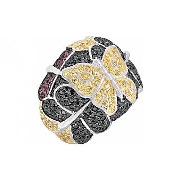 Кольцо с фианитом черным и золотым покрытием из серебра 115642