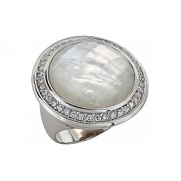 Кольцо с фианитом и перламутром из серебра 99445