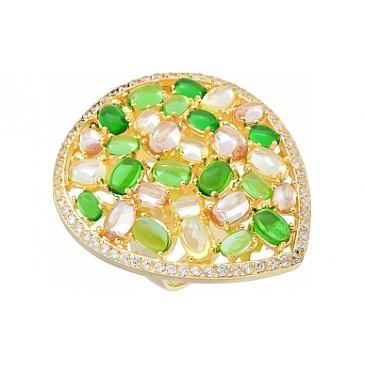 Кольцо с фианитом и золотым покрытием из серебра 115634