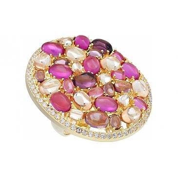 Кольцо с фианитом и золотым покрытием из серебра 115636