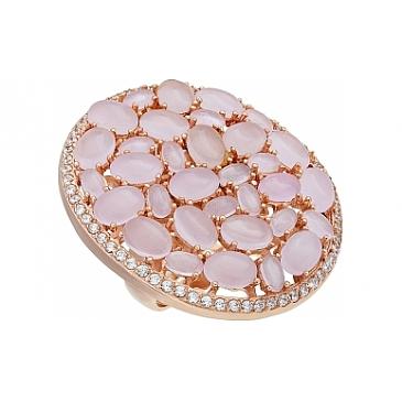 Кольцо с фианитом и золотым покрытием из серебра 115637