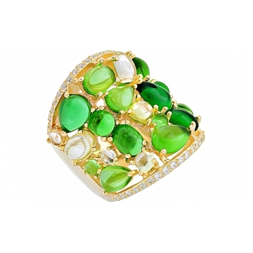 Кольцо с фианитом и золотым покрытием из серебра 115641