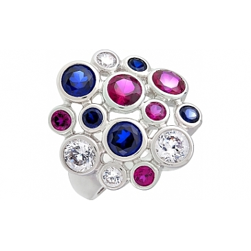 Кольцо с имитац. корунда и фианитом из серебра 99924
