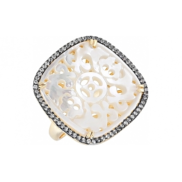 Кольцо с перламутром, фианитом и золот. покрытием из серебра 114291