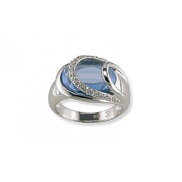 Кольцо с синт.топазом и фианитом из серебра 32640