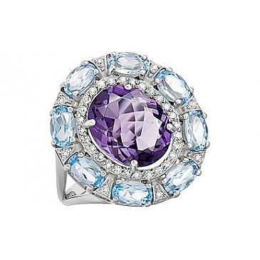 Кольцо с топазом, алпанитом и фианитом из серебра 133561