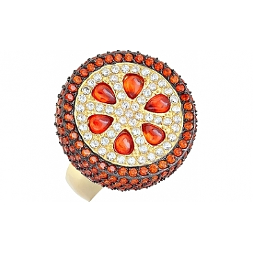 Кольцо семечко с фианитом черным и золотым покрытием из серебра 115645