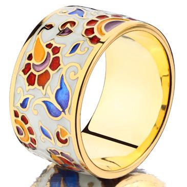 Боярская - кольцо с эмалью из серебра rm2001 от EVORA