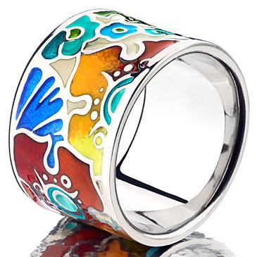 Кольцо Цветы с эмалью из серебра rc1001 от EVORA