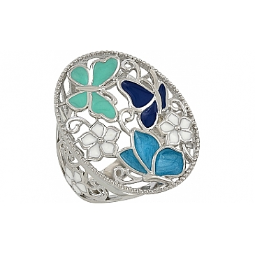 Кольцо Лето с эмалью из серебра 107328