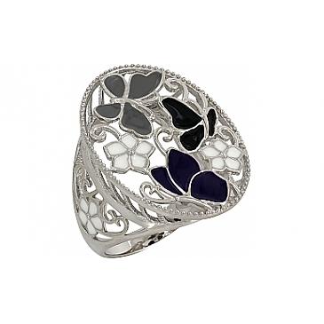 Кольцо с эмалью из серебра 107329