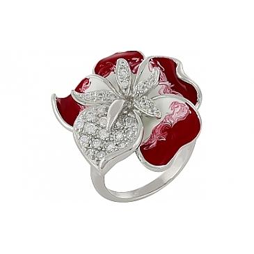 Кольцо с фианитом и эмалью из серебра 99890