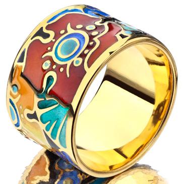 Широкое кольцо Цветы с эмалью из серебра rc2013 от EVORA