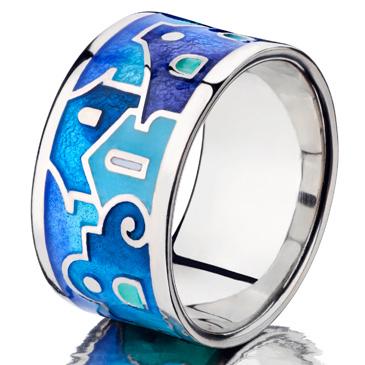 Синее кольцо Namfleg Итальянские Домики с эмалью из серебра rd1008 от EVORA