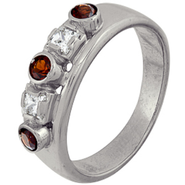 кольцо c гранатами из серебра 1r32128
