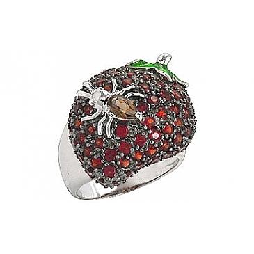 Кольцо Клубника с гранатом и раухтопазом из серебра 75068