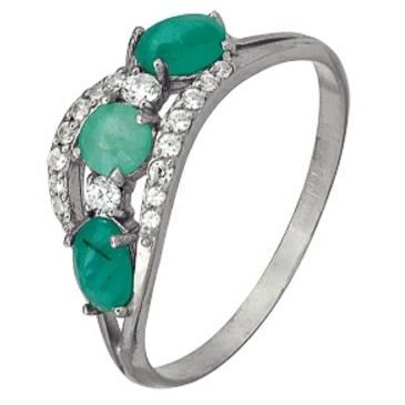 кольцо c изумрудом из серебра 3987002457-6 от EVORA