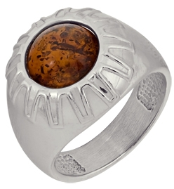 кольцо c янтарем из серебра 3487002023