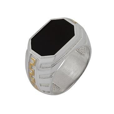 кольцо c ониксом из серебра 3432005035