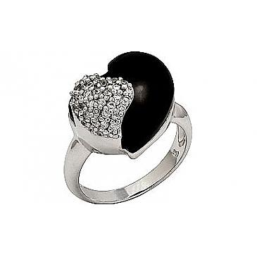 Кольцо с фианитом и ониксом из серебра 33746