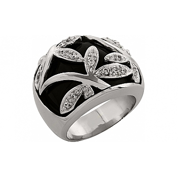 Кольцо с фианитом и ониксом из серебра 82971