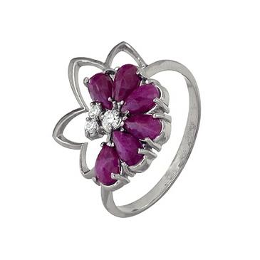 кольцо c рубинами из серебра 3987002453-11 от EVORA