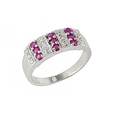 Кольцо с рубином и фианитом из серебра,артикул 68333