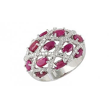 Кольцо с рубином и фианитом из серебра 68460 от EVORA