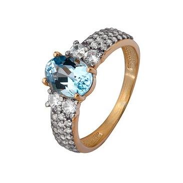 кольцо с позолотой c топазом из серебра 3757203196л от EVORA