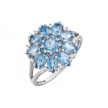 Кольцо с топазом и фианитом из серебра 123269