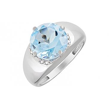 Кольцо с топазом и фианитом из серебра 123156