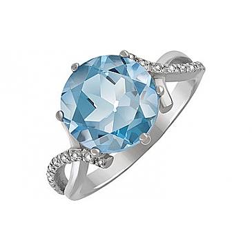Кольцо с топазом и фианитом из серебра 134262