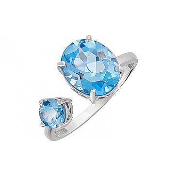 Кольцо с топазом из серебра 126899