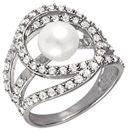 кольцо c жемчугом из серебра 1R627144Л