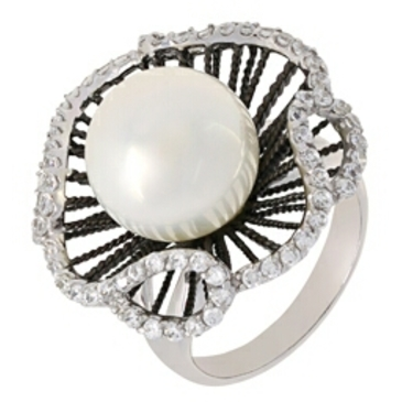 кольцо c жемчугом из серебра r510319bw2t