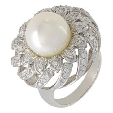 кольцо c жемчугом из серебра r510550