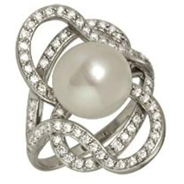 кольцо c жемчугом из серебра 3887001884