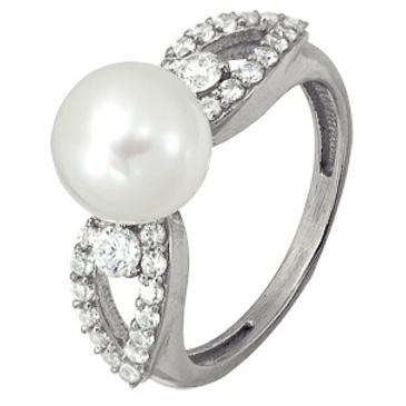 кольцо c жемчугом из серебра 3887002854л