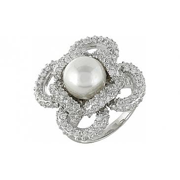 Кольцо с имитац. жемчуга и фианитом из серебра 99942