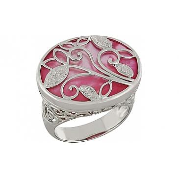 Кольцо с имитац. жемчуга из серебра 100905