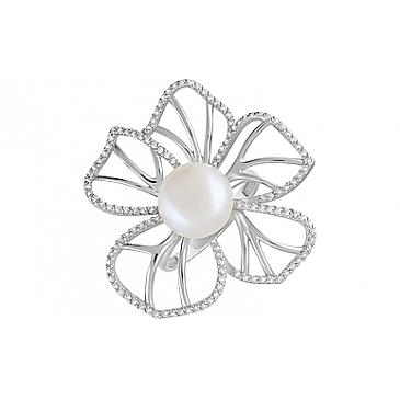 Кольцо с жемчугом и фианитом из серебра 129223